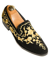 Fiesso Black Suede Gold Leaf Embroidered Design Slip On Men Trendy Solid Shoe