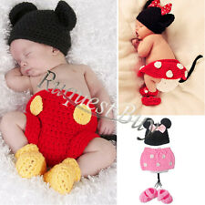 Infant Baby Girl Boy Minnie Mickey Mouse Crochet Knit Costume Outfit Xmas Gift