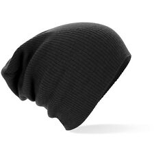 Supersoft Beechfield B461 Slouch Oversize Beanie Hat - Black - one size - lot