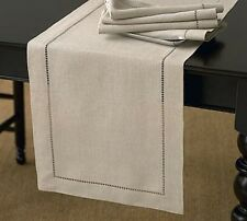 Handmade Hemstitch Rectangular Natural Table Runner, 3 Sizes Available