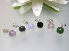 2 Pairs Vintage nature Gemstone 6mm Round Ball Stud sterling silver earrings USA