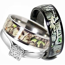 His TITANIUM Camo & Hers STAINLESS STEEL Wedding Rings Set Camouflage Black 3pcs