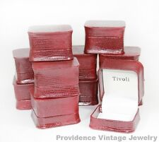 100 PCS WHOLESALE LOT OF RING GIFT BOXES JEWELRY SUPPLIES MAROON SNAKESKIN