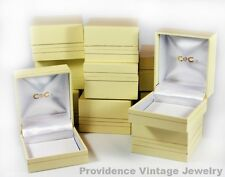 100 PCS WHOLESALE LOT OF RING GIFT BOXES JEWELRY SUPPLIES LIGHT YELLOW WITH GOLD