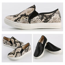 Women Round Toe Casual Loafer Korean Style Python Print Flat Heel Slip-on Shoes