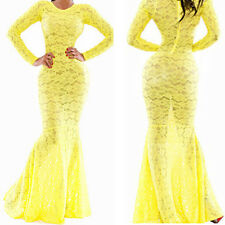 Womens Lace Dress Formal Evening Wedding Long Prom Gown Maxi Bridesmaid Dresses