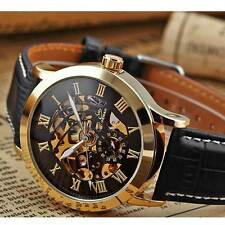 New Mens Luxury Stainless Steel Automatic Mechanical Skeleton Sport Wrist Watch