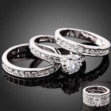 Hot 3-in-1 Cubic Zirconia 925 Sterling Silver Engagement Wedding Band Ring Gift