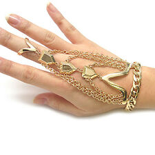 Gold Multi Chain Indian Bollywood Bride Bridal Ring Bracelet Style Girls Jewelry