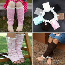 Kids Girl's Crochet Knitted Toppers Leaf Lace Trim Cuffs Leg Warmers Boot Socks
