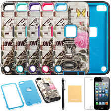 For iPhone $ Samsung Hard & Soft High Impact Armor Rose Flower Eiffel Tower Case