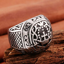 New 316L Stainless Steel CELTIC CROWN CROSS Men Cast Ring Tribal Band Size 7-9
