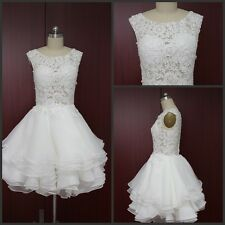 2015 Knee-Length Wedding Dresses Bridal Gown Lace-Up In Stock UK Size 6-20