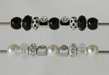 SET OF 9 MIXED BLACK OR WHITE  BEADS CHARMS  & RHINESTONES FIT EUROPEAN BRACELET