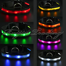 LED Light Flashing Glow Luminous Adjustable Pet Dog Safety Collar Night Nylon