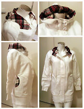 CUTE Celebrity Style Long Cotton Fleece Lining Plaid Hood Sweater Jacket 2 color