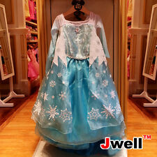 @USA Best Gift Girls Dress Gown Costume Cosplay For Frozen Queen Elsa & Anna