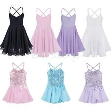 Girl Party Ballet Tutu Dance Dress 2-14Y Kids Leotard Short Sleeve Skirt Costume
