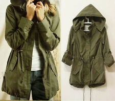 Womens Hoodie Drawstring Army Green Military Trench Parka Jacket Coat Jumper wn