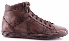 Men's High Top Sneakers Shoes PLAYHAT Leather Brown Vintage Exclusive Handmade