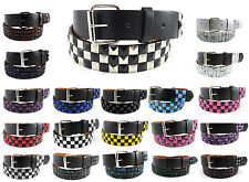 Metal Studded Leather Belt Mens Removable Buckle Pyramid Checkered Studs Unisex