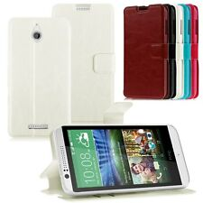 Flip Leather Case Magnetic Wallet Stand Cover w/ Card Slots For HTC Desire 510