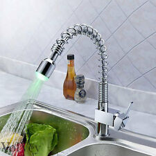 """18""""LED Pull Out Kitchen Faucet Modern One Hole/Handle Cheap Discount Chrome Tap"""