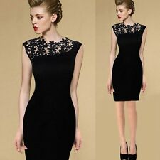 Women's Black Lace Floral Dress Elegant Casual Sleeveless Slim Bodycon Dress