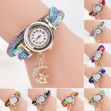 Womens Crystal Band Wave Bracelet Dial Quartz Analog Wrap Bracelet Wrist Watch