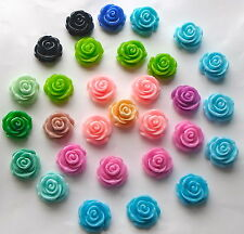 5 x Acrylic/Resin Rose Flower Cabochons 23mm Flat Back Jewellery/Craft Making A7