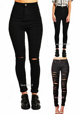 BN Womens High Waisted Black Ripped Jeans Denim Jeans Legging Trousers Sz6-14