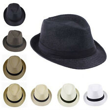 Kids Children Boys Girls Black Band Straw Fedora Trilby Jazz Panama Hat Cap