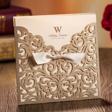 Classic Gold Hollow Silk Tie Wedding Invitations Cards with Envelopes, Seals