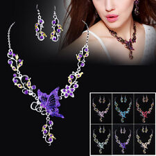 Fashion Wedding Crystal Rhinestone Necklace Earrings Butterfly Bride Jewelry Set
