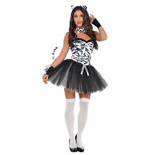 Carnival Black White Ladies Sexy Zebra Animal Zoo Fancy Dress Hen Party Costume