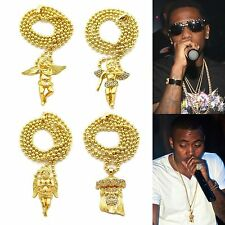 MENS NEW HIP HOP GOLD JESUS FACE ANGEL MICRO MINI PENDANT BALL CHAIN NECKLACE
