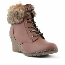 WOMENS LADIES GIRLS WEDGE HEEL FUR LINED COMFY WINTER ANKLE BOOTS SHOES SIZE