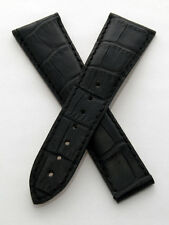 Black leather crocodile-style deployment watch strap to fit Omega Railmaster XXL
