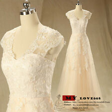 Custom Made 2015 New Simple Champagne wedding dresses Bridal Gown 6-8-10-12-14++