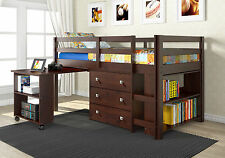 LOFT BUNK BED WITH ROLL OUT DESK, BUILT-IN 3 DRAWER CHEST, & BOOKCASE