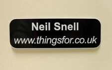 Engraved Name Badges Black with White text personalised with your details