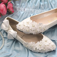 Free Shipping Womens Wedding Shoes Lace Flower Beads Ballet Flats Bowknot Loafer