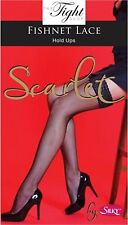 Fishnet Lace Top Hold Ups with Silicon Bands (Scarlet) White Nude Red - SALE!