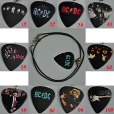 ACDC AC/DC Medium Guitar Pick Necklace , Tibetan Silver Pendant Leather Cord