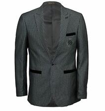 Mens Grey Checked Slim Fit Suede Elbow Patch Smart Casual Blazer
