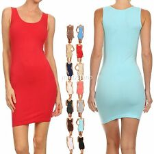 Womens Casual Long Stretchy Tank Top Dress Ribbed Racer Back Size S,M,L Fashion
