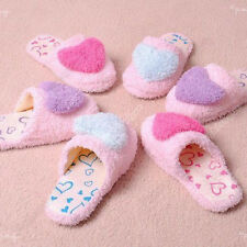 Nice velvet Women Anti-slip Heart Shape Slippers coral cotton Indoor Warm 03