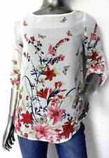 LADIES DOROTHY PERKINS OFF WHITE FLORAL PINK GREEN RED FLOWER CHIFFON TOP BLOUSE