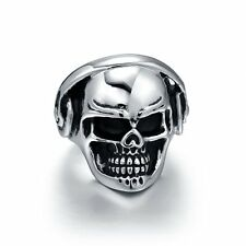 Men's Gothic Solid Biker Skull Design Ring Silver Tone Stainless Steel Jewerly