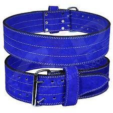 Fit Genuine Leather Power Heavy Duty Weight Lifting Body building Belt Blue